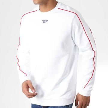 Sweat Crewneck A Bandes Classique Blanc Rouge