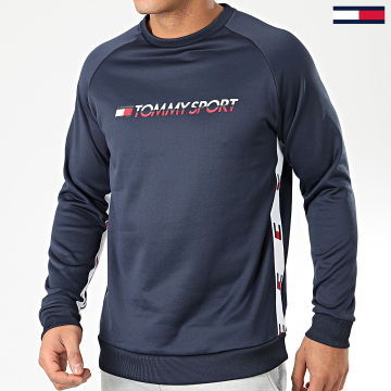 Sweat Crewneck Knit Logo Tape 0122 Bleu Marine Blanc Rouge