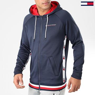 Tommy Sport - Veste Zippée Capuche Knit FZ Tape Bleu Marine Blanc Rouge