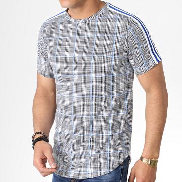 Tee Shirt Oversize A Carreaux Avec Bandes GO57 Noir Blanc Bleu Roi