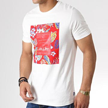 Tee Shirt Floral Tropicana Blanc Rouge