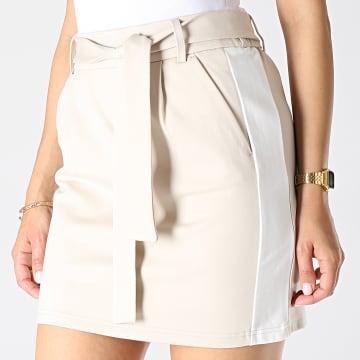 Jupe Femme A Bandes Poptrash Easy Belt Beige Blanc