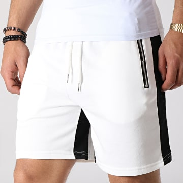 Short Jogging A Bandes BM1130 Blanc Noir