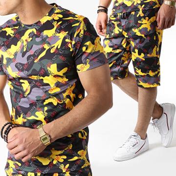 Ensemble Tee Shirt Et Short TP801 Camouflage Noir Jaune Gris