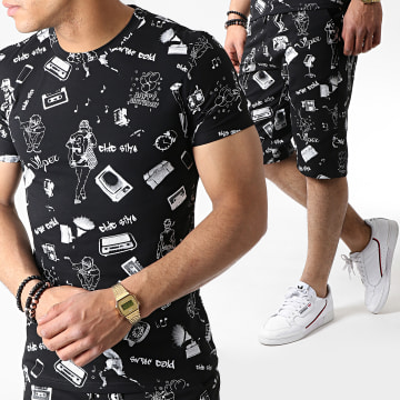 Ensemble Tee Shirt Et Short TP815 Noir Blanc