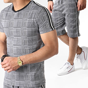 Ensemble Tee Shirt Et Short A Carreaux Avec Bandes ES02 Blanc Noir