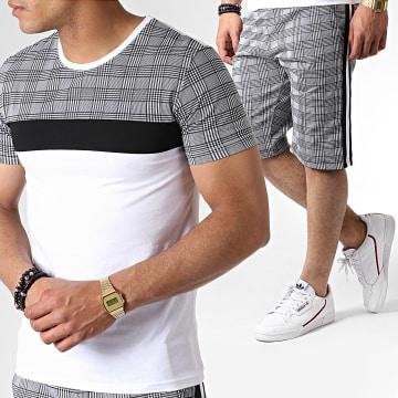Ensemble Tee Shirt Et Short A Carreaux Avec Bandes ES01 Blanc Noir