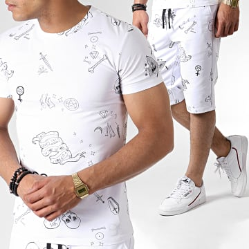 Ensemble Tee Shirt Et Short TP813 Blanc Noir