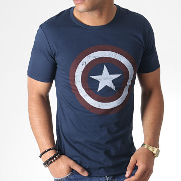 Captain America - Tee Shirt MEAMERCTS036 Bleu Marine