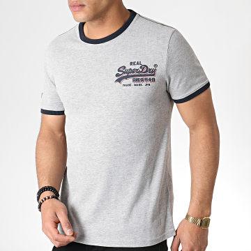 Superdry - Tee Shirt Vintage Logo Ringer Cali M10190KT Gris Chiné Bleu Marine