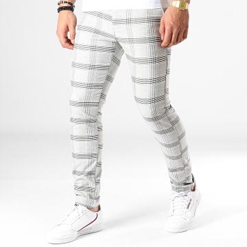 Pantalon A Carreaux 3128 Gris Jaune
