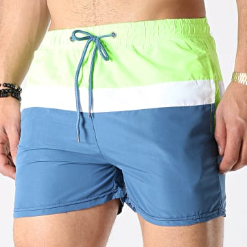 Short De Bain Tricolore 6726 Bleu Vert Fluo Blanc
