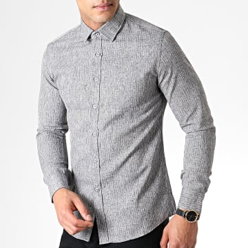 MTX - Chemise Manches Longues A Rayures 1971 Gris Anthracite Chiné