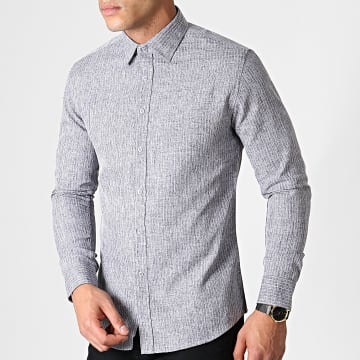 MTX - Chemise Manches Longues A Rayures 1971 Gris Chiné