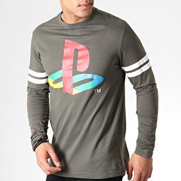 Playstation - Tee Shirt Manches Longues Logo Striped Army Vert Kaki