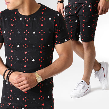 Ensemble Short Tee Shirt 130 Noir Rouge