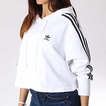 Sweat Capuche Crop Femme ED7555 Blanc Noir