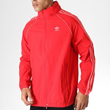 Adidas Originals - Veste Zippée Capuche A Bandes ED6083 Rouge