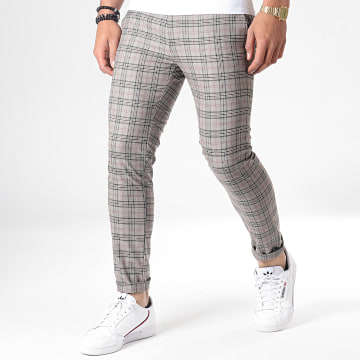 Mackten - Pantalon Carreaux 28042 Gris Rouge