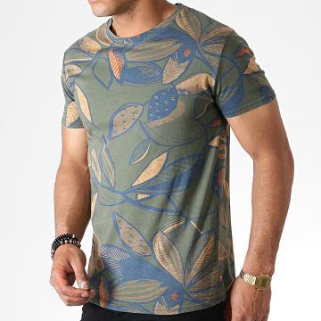 MTX - Tee Shirt Floral ZT5059 Vert Kaki Bleu Orange
