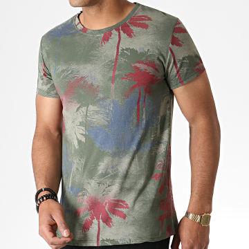 MTX - Tee Shirt Floral ZT5062 Vert Kaki Rouge Bleu
