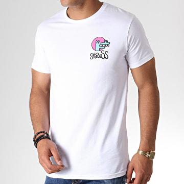 Roméo Elvis - Tee Shirt Croco Blanc Rose Bleu