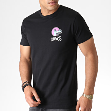 Roméo Elvis - Tee Shirt Croco Noir Rose Bleu