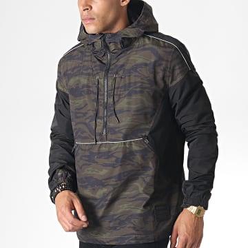 Superdry - Veste Outdoor Camouflage Jared Overhead Cagoule M50104PU Vert Kaki Noir
