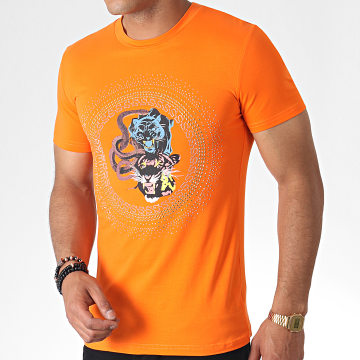 John H - Tee Shirt A Strass A047 Orange Doré Argenté