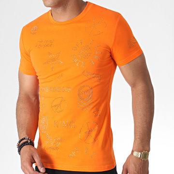 John H - Tee Shirt A Strass A051 Orange Doré
