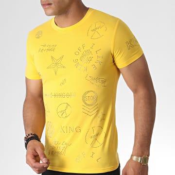 John H - Tee Shirt A Strass A051 Jaune Doré