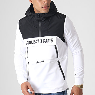 Project X - Sweat Zippé Capuche 1920028 Blanc Noir