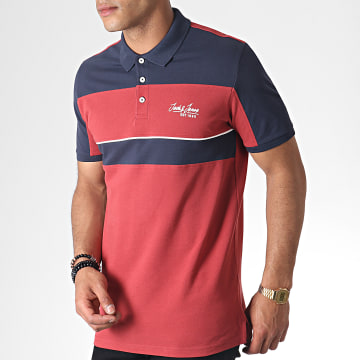 Jack And Jones - Polo Manches Courtes Jake Bordeaux Bleu Marine