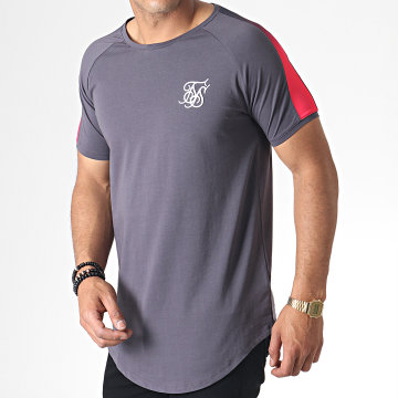 SikSilk - Tee Shirt Oversize A Bandes Fade Panel 15344 Gris Rose