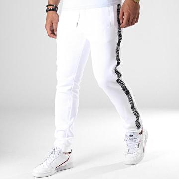 Versace Jeans Couture - Pantalon Jogging A Bandes UUP314 Tape Logo A2GUA1FD Blanc Noir