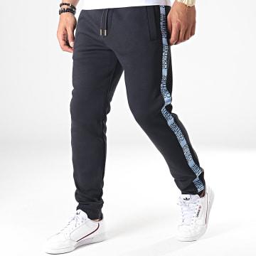 Pantalon Jogging A Bandes UUP314 Tape Logo A2GUA1FD Noir Bleu Clair