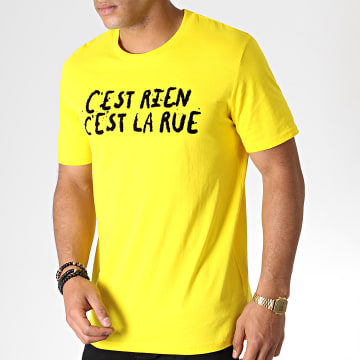 C'est Rien C'est La Rue - Tee Shirt Flock Jaune Noir