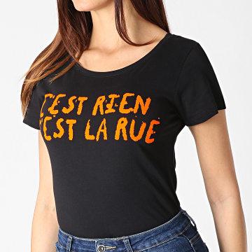 C'est Rien C'est La Rue - Tee Shirt Femme Flock Noir Orange