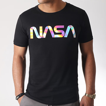 NASA - Tee Shirt Iridescent Worm Logo Noir