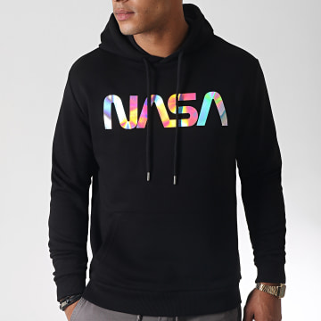 Sweat Capuche Iridescent Worm Logo Noir