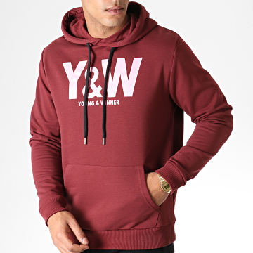 Y et W - Sweat Capuche Logo Bordeaux Rose
