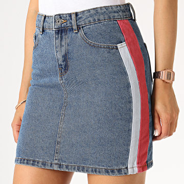 Only - Jupe Jean Femme A Bandes Christy Bleu Denim Rouge Brique