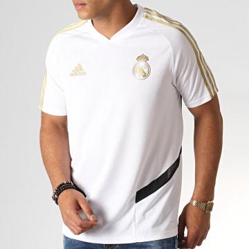 Tee Shirt De Sport A Bandes Real DX7849 Blanc Doré