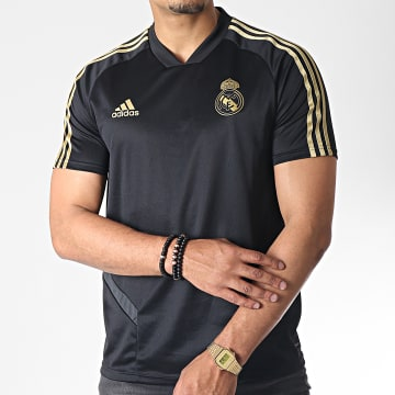 Adidas Performance - Tee Shirt De Sport A Bandes Real DX7848 Noir Doré