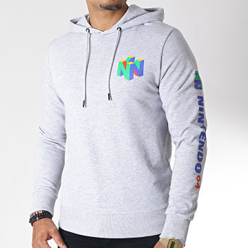 Sweat Capuche Nintendo Gris Chiné