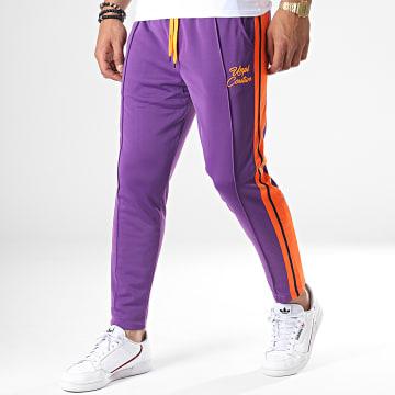 Pantalon Jogging A Bandes UPP41 Violet Orange Noir