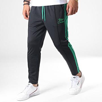 Pantalon Jogging A Bandes UPP41 Noir Vert