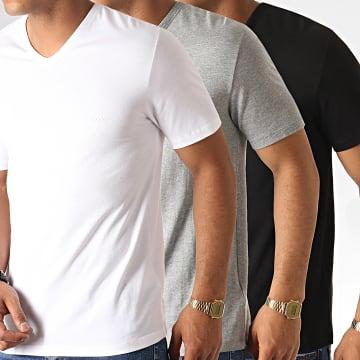 BOSS by Hugo Boss - Lot De 3 Tee Shirts Col V 50325389 Noir Blanc Gris Chiné