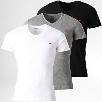 Diesel - Lot de 3 Tee Shirt Col V All Timers Michael 00SHGU-0WAVC Blanc Gris Chiné Noir