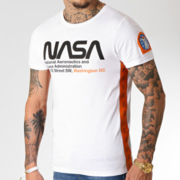 Tee Shirt Space Administration Avec Bandes Et Broderie 252 Blanc